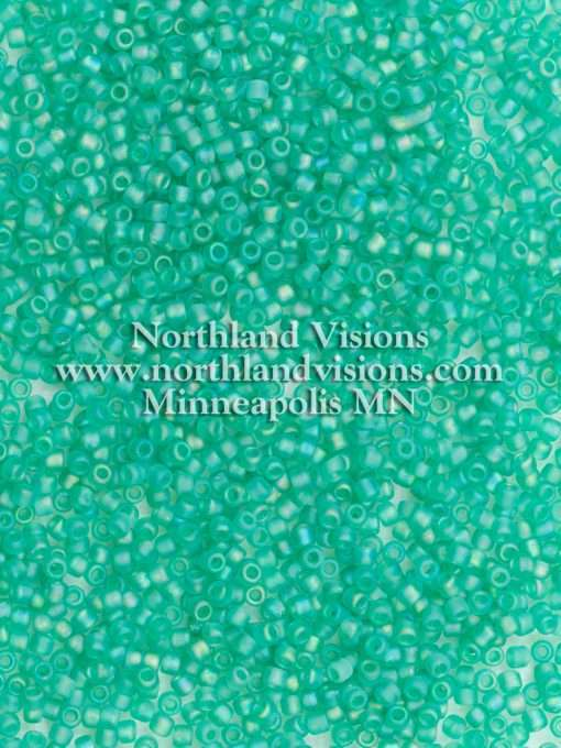 Japanese Seed Bead, Matsuno 11-F259, Transparent Green AB Matte, 11/0 30 grams