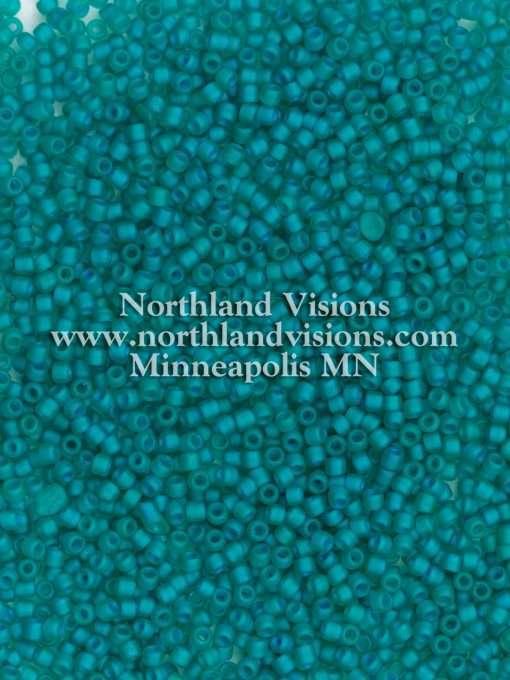 Japanese Seed Bead, Matsuno 11-F399O, Transparent Teal Green AB Matte, 11/0 30 grams