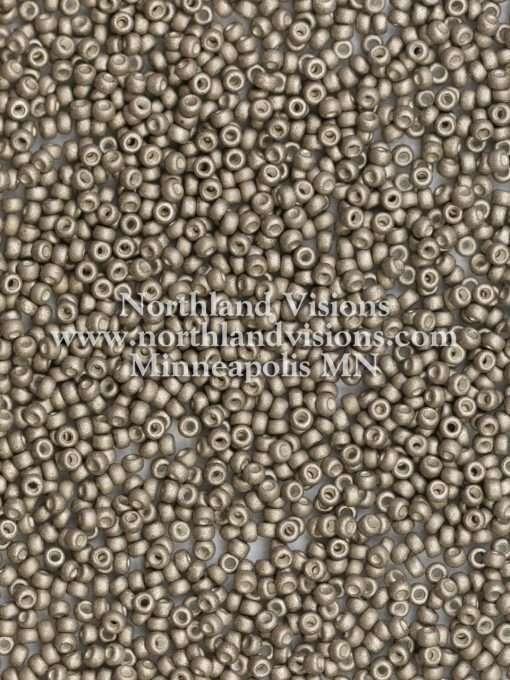 Miyuki Seed Beads, Round Rocailles 11-F451E, Opaque Warm Grey Metallic Matte, 11/0 30 grams