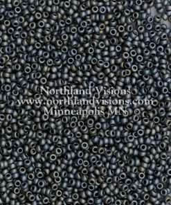 Japanese Seed Bead, Miyuki 11-F482O, Opaque Gunmetal AB Matte, 11/0 30 grams