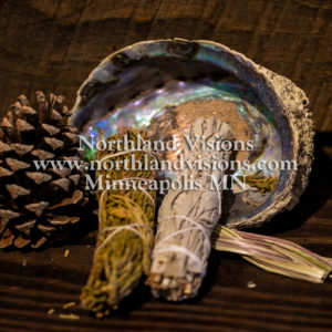 15252-Horizontal-Smudge-Kit-sage-cedar-sweetgrass-abalone-shell-Northland-Visions