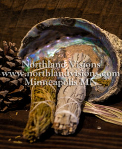 15252-Horizontal-Smudge-Kit-sage-cedar-sweetgrass-abalone-shell-Northland-Visions