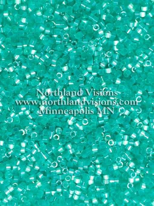 Miyuki Delica Cylinder Bead, DB1869, Silk Satin Aqua Green AB, 11/0 7 grams