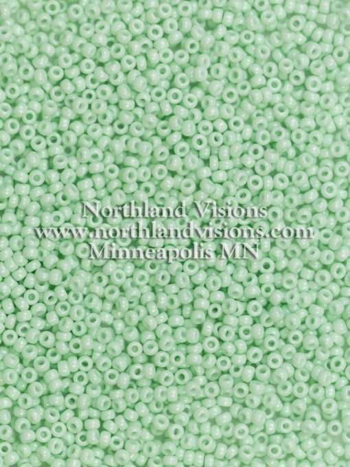 Japanese Seed Bead, Miyuki Round Rocailles 11-412K, Opaque Pale Mint Green, 11/0