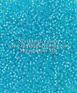 Japanese Seed Beads, Miyuki Round Rocailles 11-587, Transparent Silver Lined Aqua Opal, 11/0 30 grams