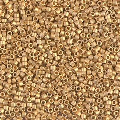 Miyuki Delica Cylinder/Seed Bead, DB0331/DB331, Opaque Metallic 24Kt Gold Plated Matte, 11/03.5 grams