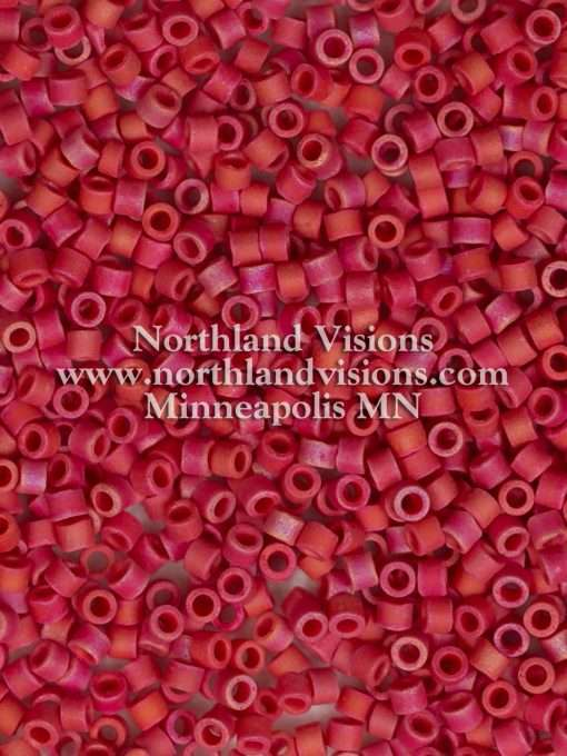 Miyuki Delica Cylinder Bead, DB0362, Opaque Red Matte AB, 11/0 7 grams
