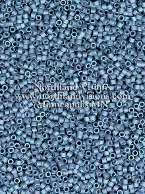 Miyuki Delica Cylinder Bead, DB0376, Opaque Light Grey Blue Metallic Matte AB, 11/0 7 grams