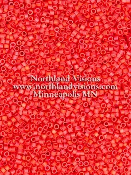 Miyuki Delica Cylinder Bead, DB0873, Opaque Cranberry Matte AB, 11/0 7 grams