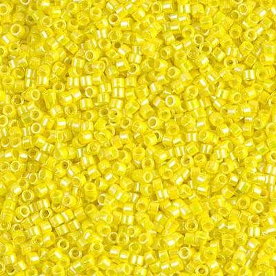 Miyuki Delica 11/0 Cylinder Bead, DB0160, Opaque Yellow AB, 7 grams