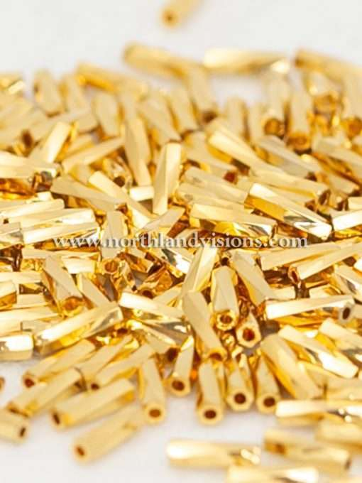 Japanese Bugle Bead, Miyuki TW206-191, Twisted 24Kt Gold Plated, 6mm 10 grams