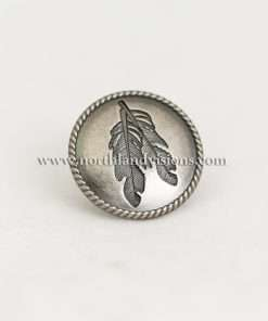 """Antique Nickel Feather Concho with Post, 1.25"""" 1 Piece"""