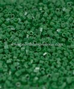 Japanese Seed Bead, 411B, Opaque Dark Green, 15/0 Hex, 14 grams