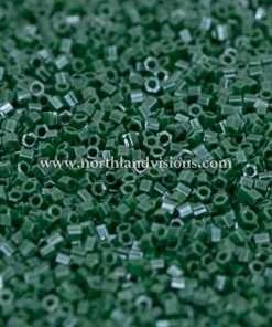 Japanese Seed Bead, 431B, Opaque Dark Green Luster, 15/0 Hex, 14 grams