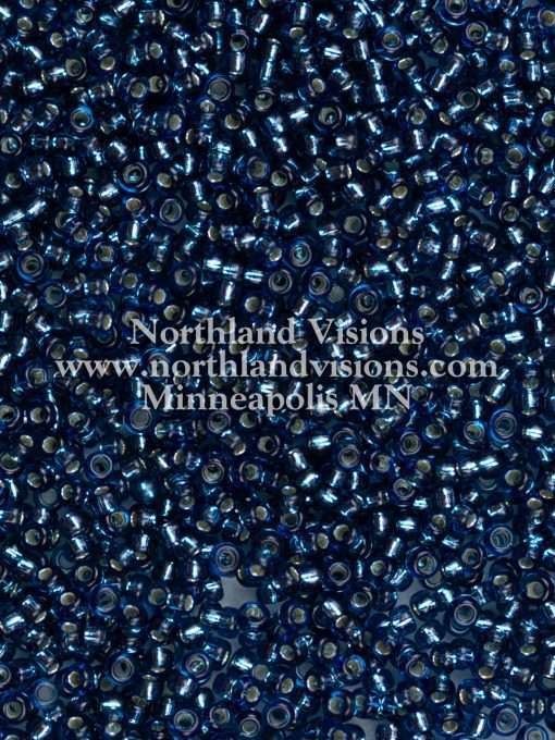 Japanese Seed Bead, Miyuki Round Rocailles 11-31, Transparent Montana Blue Silver Lined, 11/0