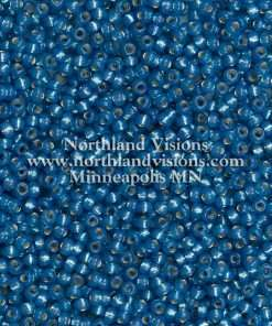 Japanese Seed Bead, Miyuki Round Rocailles 11-588, Transparent Silver Lined Montana Blue Opal, 11/0 30 grams