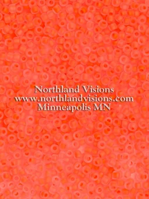 Japanese Seed Bead, Matsuno 11-F206A, Crystal Neon Coral Matte, 11/0