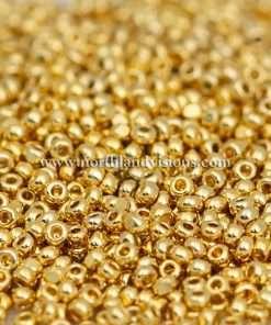Czech Preciosa 68304-11C 11/0 Charlotte/True Cut Seed Beads, Opaque 24Kt Gold Plated, 13 grams