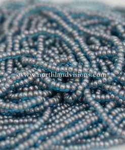 Czech Seed Bead, Transparent Aqua Blue Color Lined Beige, 11/0 1 Hank