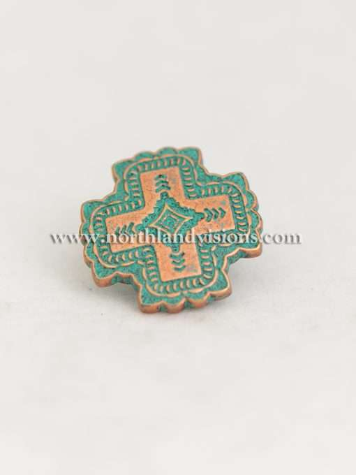 "Santa Fe Copper Patina Cross Concho With Post, 1.25"" 1 Piece"