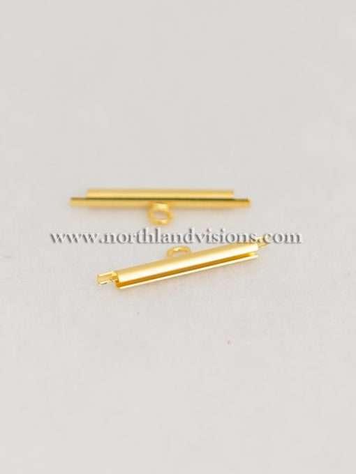 Miyuki Delica Slide Tube, 11/0, Bracelet Clasp, Gold Plated, 1 Set, 20mm