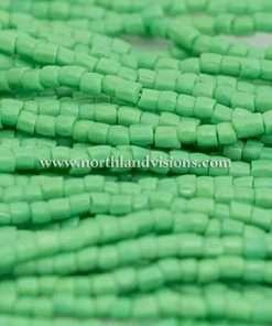 Czech 3 Cut Seed Bead, Opaque Medium Green, 9/0, 1 Hank