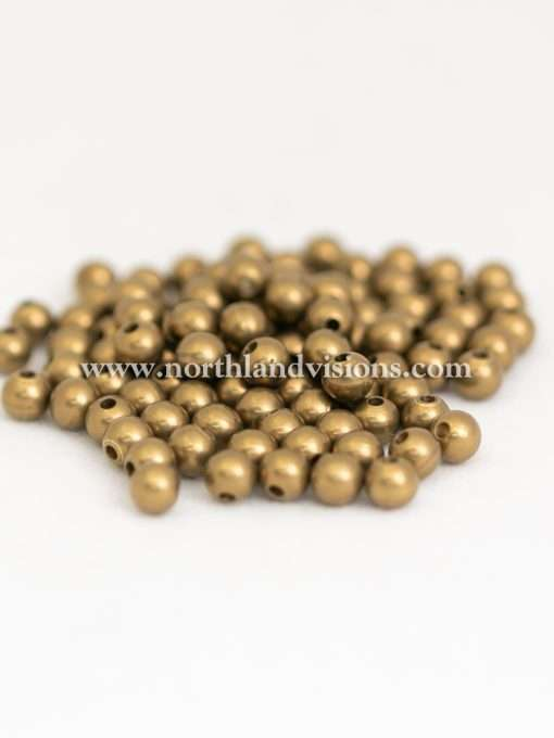 Solid Brass Bead, Small Hole, 7mm, 100 Pieces