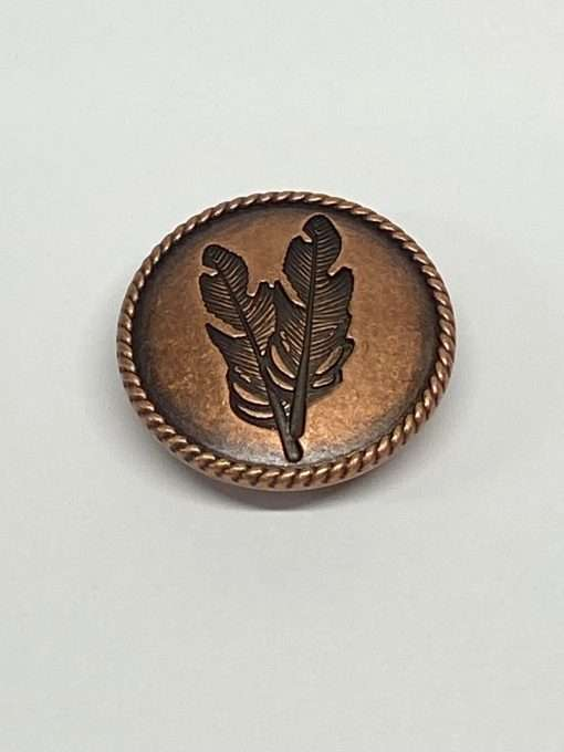 """Antique Copper Feather Concho with Post, 1.25"""" 1 Piece"""
