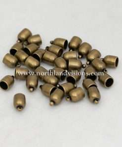 Bullet EndCap, Antique Brass Plated, 1 Pair, 6mm Used For Necklace Ends / Rope or Cord