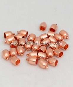 Bullet EndCap, Copper Plated, 1 Pair, 6mm, Used For Necklace Ends / Rope or Cord