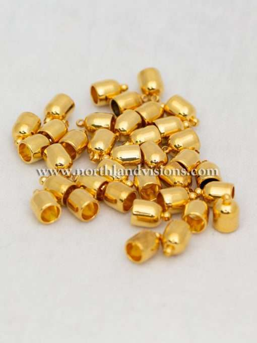 Bullet EndCap, Gold Plated, 1 Pair, 6mm, Used For Necklace Ends / Rope or Cord