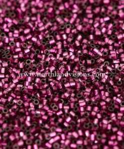 Japanese Seed Bead, 24A, Transparent Dark Fuchsia Silver Lined, 15/0 Hex, 14 grams