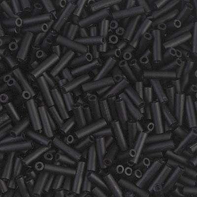 Japanese Bugle Bead, Miyuki BGL2-9401F, Opaque Black Matte, 6mm 10 grams