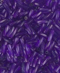 Japanese Bugle Bead, Miyuki TW206-1721, Twisted Transparent Dark Purple, 6mm 10 grams