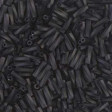 Japanese Bugle Bead, Miyuki TW206-401F, Twisted Opaque Black Matte, 6mm 10 grams