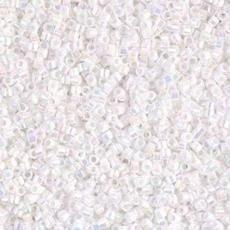 Miyuki Delica Cylinder/Seed Bead, DB0202/DB202, Opaque Pearl White AB, 11/0 7 grams