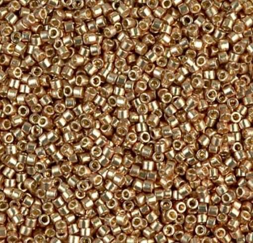 Miyuki Delica Cylinder Bead, DB1834, Duracoat Galvanized Champagne Gold, 11/0 7 grams