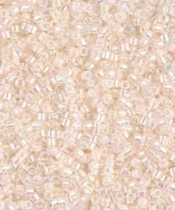 Miyuki Delica Cylinder Bead, DB0052, Opaque Off White AB, 11/0 7 grams