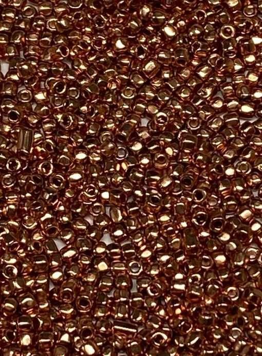 Czech 3-Cut Seed Bead, Preciosa® Ornela 68304, Dark Rose Gold Metallic, 9/0 10 grams