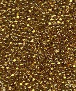 Czech 3-Cut Seed Bead, Preciosa® Ornela 68304SF, 24Kt Gold Plated Semi Frosted, 9/0 10 grams