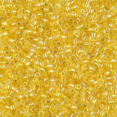 Miyuki Delica Cylinder Bead, DB171, Transparent Yellow AB, 11/0 7 grams
