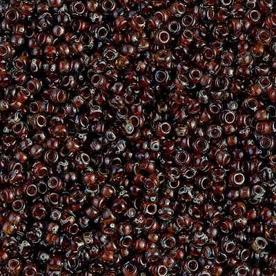 Japanese Seed Bead, Miyuki, 11-4502, Transparent Picasso Dark Topaz, 11/0 30 grams