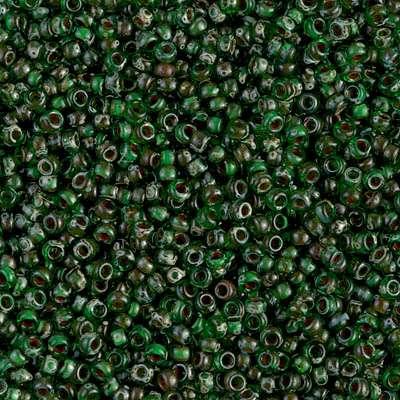 Japanese Seed Bead, Miyuki, 11-4507, Transparent Picasso Green, 11/0 30 grams