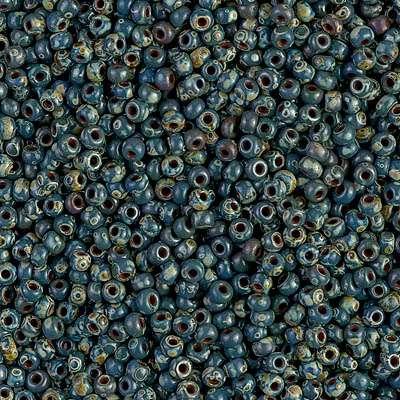 Japanese Seed Bead, Miyuki, 11-4516, Opaque Picasso Dark Teal, 11/0 30 grams