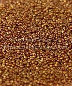 Japanese Seed Bead, TOHO CRS-421, Transparent Topaz Gold Luster, 15/0 3-Cut, 14 grams