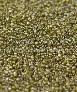 Japanese Seed Bead, TOHO CRS-457, Transparent Olivine Luster, 15/0 3-Cut, 14 grams