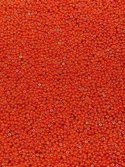Czech Seed Bead, Opaque Orange Iris, Loose, 11/0 30 grams