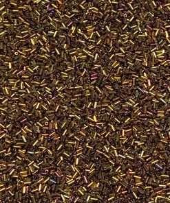 Japanese Bugle Bead, Miyuki BGL1-9462, Metallic Gold Iris, 3mm 10 grams