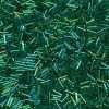 Japanese Bugle Bead, Miyuki BGL2-9179, Transparent Green AB, 6mm 10 grams