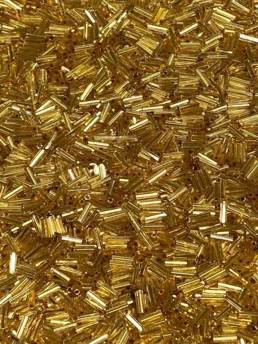 Japanese Bugle Bead, Miyuki BGL2-9195HX, Transparent 24Kt Gold Lined Crystal, 6mm 7 grams